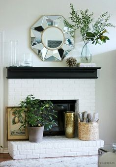 Summer Mantel - don't forget the hearth Fireplace Mantels, Mantles, Fireplaces, Dream Home Design, House Design, Midcentury Eclectic, Summer Mantel, Family Room Fireplace, Interior And Exterior