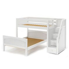 WIGGLE WP : Twin/Full Bunk w/ Staircase : Twin/Full : White : Panel