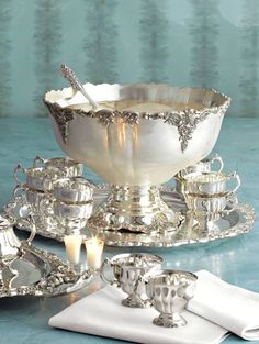 Wallace Grande Baroque Sterling Silver Tea, Punch, and Bowl service Silver Trays, Silver Spoons, Silver Plate, Sterling Silver Flatware, Vintage Silver, Antique Silver, Silver Tea Set, Argent Antique, Punch Bowl Set