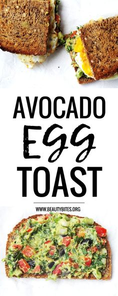 Easy Avocado Egg Toast - This healthy egg & avocado sandwich was my lunch + dinner last week! Loved it - makes a super quick easy healthy lunch - try it! | www.beautybites.org
