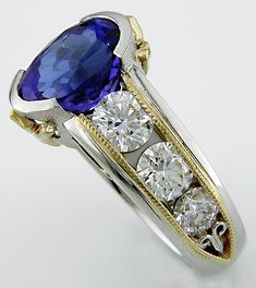 Tanzanite Engagement Rings   Tanzanite and Diamond Engagement Ring - Bijoux Extraordinaire