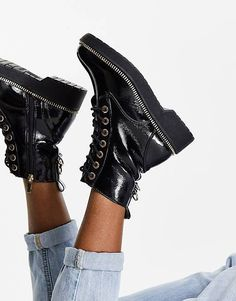 The 19 Best Combat Boots for Women That Make Any Outfit Cool | Who What Wear River Island, Easy Entry, Who What Wear, Lace Up Boots, Heels, Combat Boots, Peep Toe, Booty, Zip