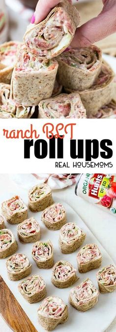 Ranch BLT Roll Ups are a hit at every party! Bacon, lettuce and tomato are even better with ranch dressing and cream cheese! These are perfect for game day! via /realhousemoms/
