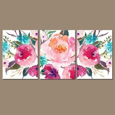 Flower art pictures etsy ideas for 2019 Watercolor Canvas, Watercolor Flowers, Watercolor Paintings, Canvas Art, Canvas Ideas, Painting Canvas, Floral Artwork, Floral Wall Art, Floral Nursery