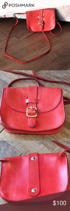 """Red leather Clare V. Clare Vivier crossbody bag Very good used condition. One scuff mark on front of bag that I haven't tried to remove. Unlined, magnetic closure, gold-toned hardware. 5.5"""" by 4.5"""". Originally smelled terrible from leather dying process (I think); smell has now almost completely gone (you're welcome). Clare Vivier Bags Mini Bags"""
