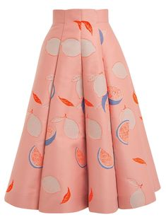 Lemon-print cotton-blend midi skirt | Vika Gazinskaya