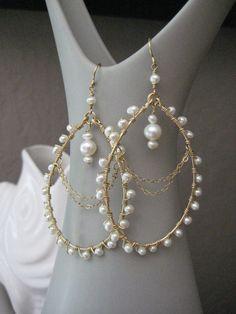 Wedding Pearl Earrings Pearl Chandelier Earrings by brookeelissa