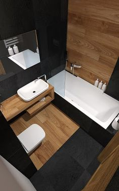 Badezimmerideen Wooden Bathroom: 20 Ideas To Inspire You - Around France # Best Bathroom Designs, Bathroom Design Luxury, Bathroom Layout, Modern Bathroom Design, Home Interior Design, Wooden Bathroom, Small Bathroom, Bathroom Black, Ideas Baños
