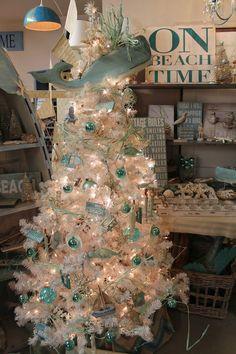 Christmas - Sea Glass Blue & White Christmas Tree