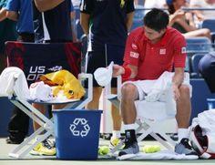 評判を呼んでいる錦織圭が試合で使っている「ひよこちゃん」のバッグ(AP)