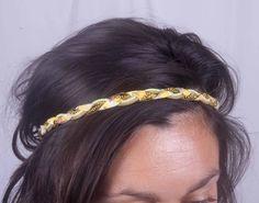 Headband tresse jaune et vert