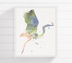 Watercolor Heron Heron Art Heron Print Heron by MiaoMiaoDesign