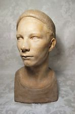 "1939 Vintage Walker Hancock Head of a FInnish Boy Plaster Bust Sculpture 17"""