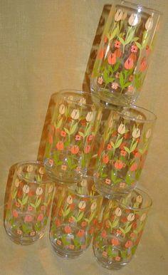 Vintage 70s 16 oz Yellow Orange Tulip Glass Drinking Tumblers