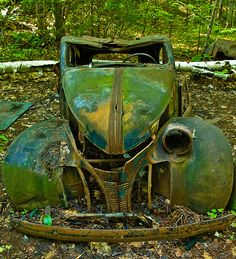 Abandoned car in a Provincial park                           by  footloosiety