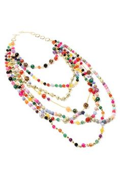 Layered Multi Strand Agate Beaded Necklace