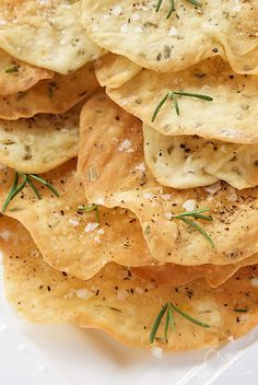 These Lemon Rosemary Flatbread Crackers are shatteringly crisp and perfect with hummus and dips, but also pair well with salads and soups.