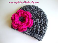I want this hat! (Baby Crochet Hat/Beanie with Flower in Gray and Hot Pink - Made to Order - Newborn, Toddler, and Girl Sizes Available. $12.99, via Etsy.)