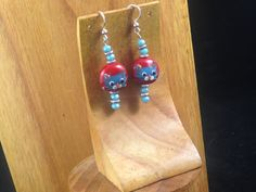 Fourth of July - Handmade Beaded Earrings - Red, White, and Blue Kitties by TheWarriorsJewelry on Etsy