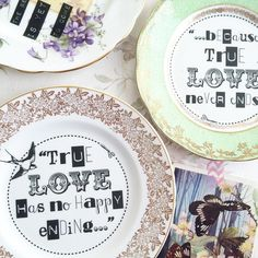 """""""a beautiful pair of #vintage plates off in the post this morning #customorder #typography #vintagechina #swallow """""""
