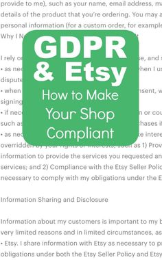 The GDPR and Your Etsy Shop: How to Make it Compliant - A must read for craft business owners who sell on Etsy - by cuttingforbusiness.com