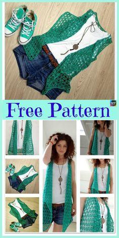 61 New Ideas For Crochet Summer Vest Pattern Cardigan Sweaters Moda Crochet, Pull Crochet, Gilet Crochet, Crochet Cardigan Pattern, Crochet Jacket, Crochet Shawl, Crochet Baby, Free Crochet, Crochet Vests
