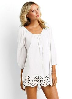 Loose fitting kaftan with ties in the back, loose sleeves gathered at ends, and beautiful floral detailing on the bottom trim by Seafolly Swimwear, $121.00