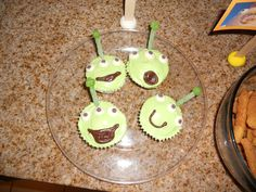 Toy Story- alien cupcakes with sour straw antenna (toothpick in the center)