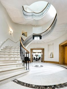 A railing supported by balusters, especially an ornamental parapet on a balcony, bridge, or terrace. Oak Handrail, Marble Staircase, Wrought Iron Gates, Craftsman, Restoration, Stairs, Carving, Staircases, Architecture