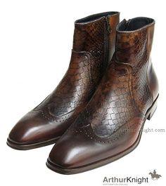 Designer Mens Brown Snakeskin Zip Boot from Arthur Knight