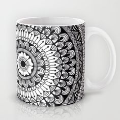 Intrigue (black and white) Mug by Dwyanna Stoltzfus - $15.00 Available in 11 and 15 ounce sizes, our premium ceramic coffee mugs feature wrap-around art and large handles for easy gripping. Dishwasher and microwave safe, these cool coffee mugs will be your new favorite way to consume hot or cold beverages. henna, patterns, doodle, zentangle, flowers, leaves,