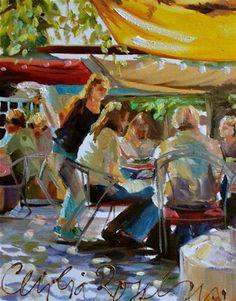"""""""CORKSCREW Café"""" - Original Fine Art for Sale - © Cecilia Rosslee"""