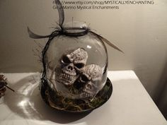 Glass Cloche with Skulls by MYSTICALLYENCHANTING on Etsy, $28.50