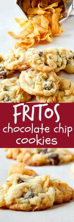 """Another Pinner says """"When you add fritos chips to chocolate chip cookies, it tastes like crunchy, caramel bits! Cookie Brownie Bars, Cookie Desserts, Just Desserts, Cookie Recipes, Delicious Desserts, Dessert Recipes, Yummy Food, Cookie Swap, Bar Recipes"""