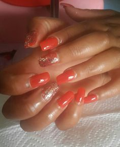 Coral orange full tips Ndumi's house of beauty PE 061 844 1942
