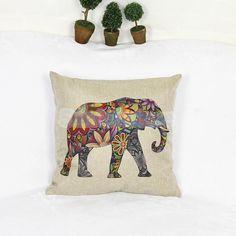 Indian Elephant Linen Cotton Cushion Cover Throw Pillow Case Home Sofa Decor