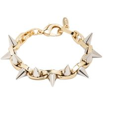 JOOMI LIM Double Row Spike Bracelet in Gold & Rhodium found on Polyvore