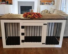 Dog Crate End Table, Wooden Dog Kennel, Indoor Wood Dog House Custom Dog Kennel, Diy Dog Kennel, Dog Kennels, Kennel Ideas, Decorative Dog Crates, Dog Crate Furniture, Wood Dog, Dog Rooms, Dog Houses