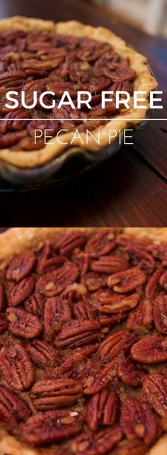 This pie is made with stevia and maple syrup in… Super easy sugar free pecan pie! This pie is made with stevia and maple syrup instead of sugar and comes out oh so yummy. Sugar Free Deserts, Sugar Free Treats, Sugar Free Cookies, No Sugar Desserts, Cookies Kids, Pecan Pies, Pie Recipes, Dessert Recipes, Cooking Recipes