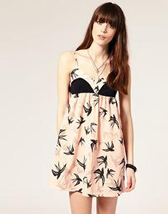 no longer avail. Reverse Swallow Print Contrast Babydoll Dress