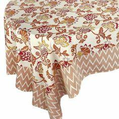 Indian Tablecloth Floral Peach Rectangle 100% Cotton 228X152 cm: Amazon.co.uk: Kitchen & Home