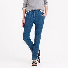 Chambray pleated pant