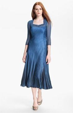 Komarov Embellished Square Neck Textured Charmeuse Dress available at #Nordstrom $298.00