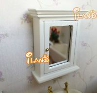 1:12 Scale Dollhouse Miniature Furniture Bathroom Cabinet With A Toilet Mirror