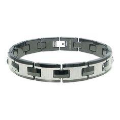 Tungsten Carbide Men's Two Tone Satin Link Bracelet