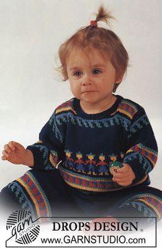 """Drops Sweater in Inca pattern, pants and socks in """"Safran"""". ~ DROPS Design"""