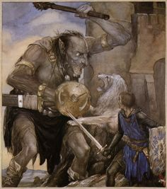Alan Lee ~ from The Lady and the Fountain ~ The Mabinogion ~ Medieval Welsh Tales translated by Gwyn Jones and Thomas Jones ~ Dragon's Dream ~ 1982