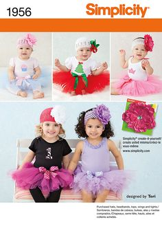 Babies' No Sew tutu costume with easy appliques to embellish a purchased top. Tops, tights, headbands & hats not included.