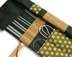 Green Knitting Needle Case, Knitting Needle Organizer