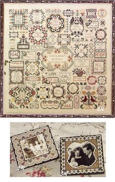 Family Reunion - Cross Stitch Pattern - This 18 x 18 square piece is a commanding tribute to your family! Karen has designed an intricate medley of motifs -- 46 of them -- that surround special dates and initials of those you hold dear. All of it is nestled together into a lovely family tree sampler. The pattern book is a whopping 46 pages.